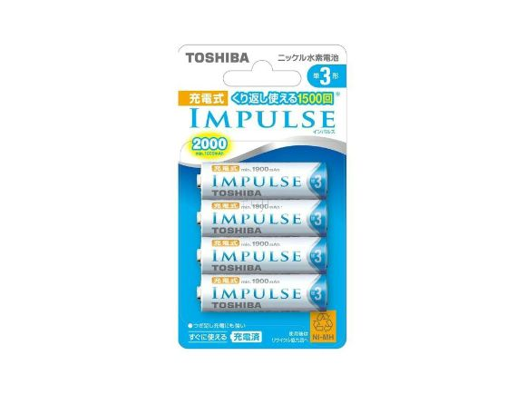 Toshiba東芝IMPULSE三號2000mAh低自放電(鎳氫)充電電池(四顆裝)(TNH-3M4P)