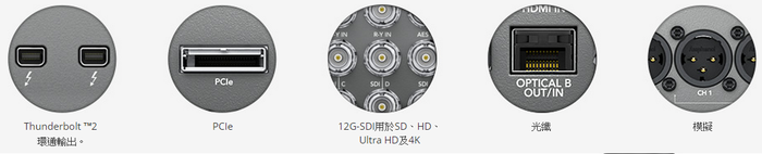Thunderbolt ™2 環通輸出。PCIe12G-SDI用於SD、HD、Ultra HD及4K光纖模擬