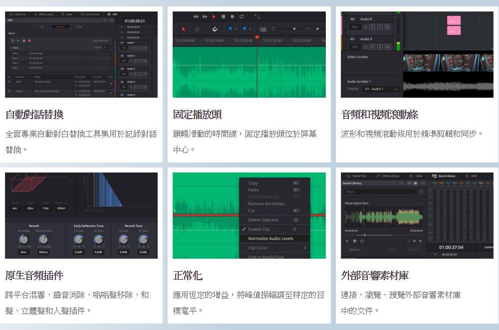 Automatic Dialog Replacement 自動對話替換 全面專業自動對白替換工具集用於記錄對話替換。 Fixed Playhead 固定播放頭 順暢滑動的時間線,固定播放頭位於螢幕中心。 Audio and Video Scrollers 音頻和視頻捲軸 波形和視頻捲軸用於精准剪輯和同步。 Native Audio Plugins 原生音頻插件 跨平臺混響、齒音消除、嗡嗡聲移除、和聲、身歷聲和人聲插件。 Normalization 正常化 應用�琠w的增益,將峰值振幅調至特定的目標電平。 External Sound Libraries 外部音響素材庫 連接、流覽、預覽外部音響素材庫中的檔。